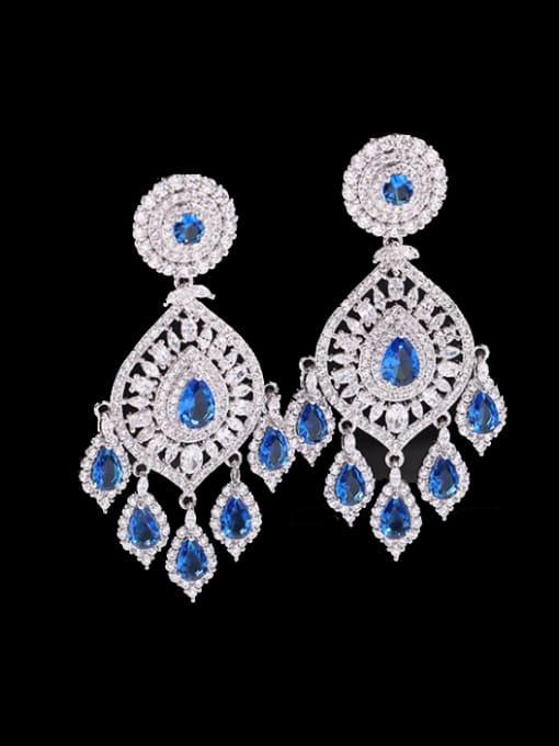 Blue zirconium Brass Cubic Zirconia Water Drop Luxury Drop Earring