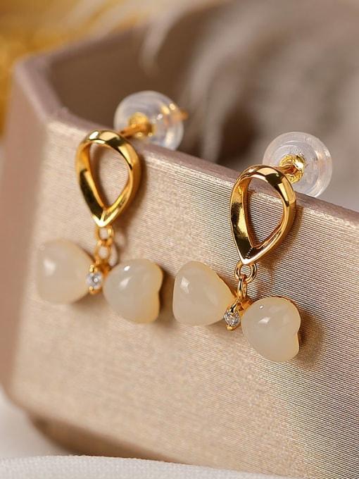 DEER 925 Sterling Silver Jade Bowknot Vintage Drop Earring