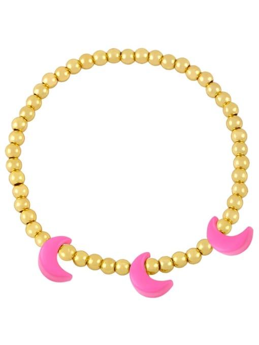 Rose red Brass Enamel Moon Minimalist Beaded Bracelet