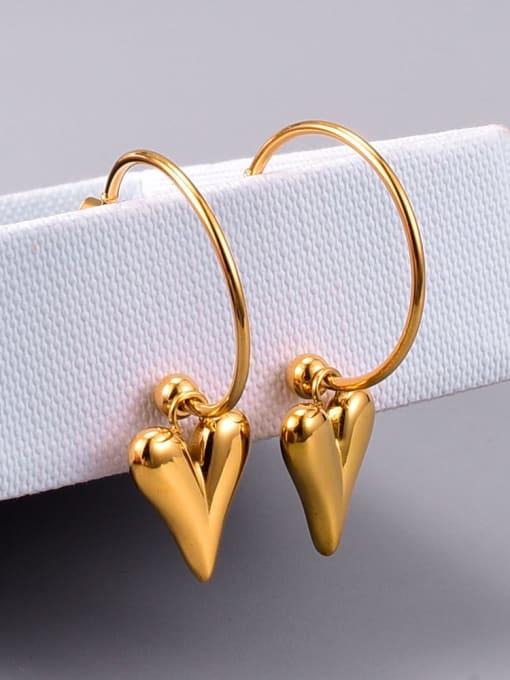 A TEEM Titanium Steel Smooth Heart Minimalist Huggie Earring 1