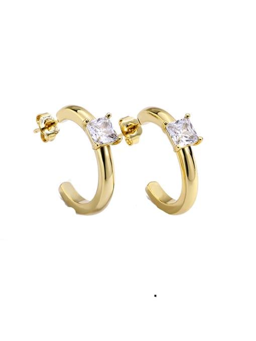 CHARME Brass Cubic Zirconia Geometric Stud Earring 0