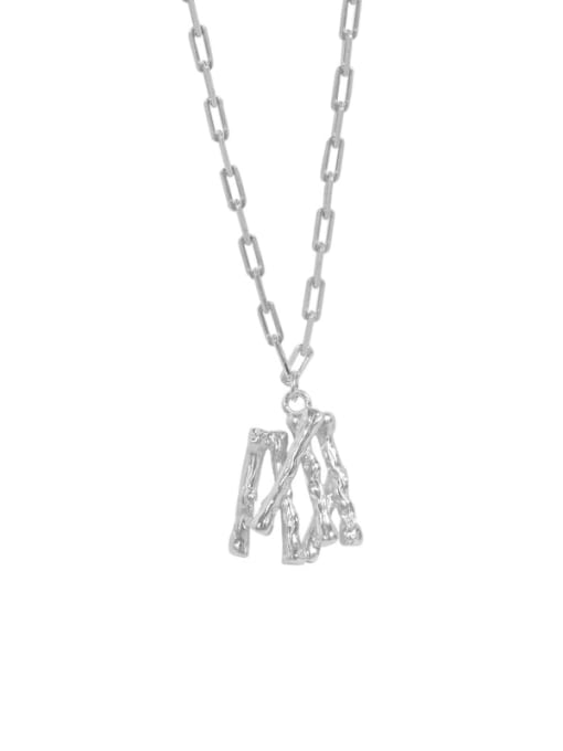 silvery 925 Sterling Silver Letter Minimalist Necklace