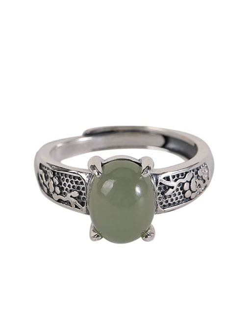 DEER 925 Sterling Silver Jade Irregular Vintage Band Ring 0