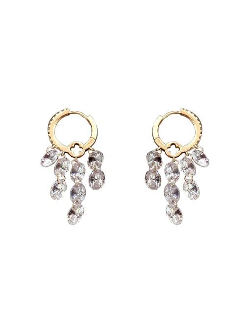 Luxu Brass Cubic Zirconia Geometric Minimalist Huggie Earring 0