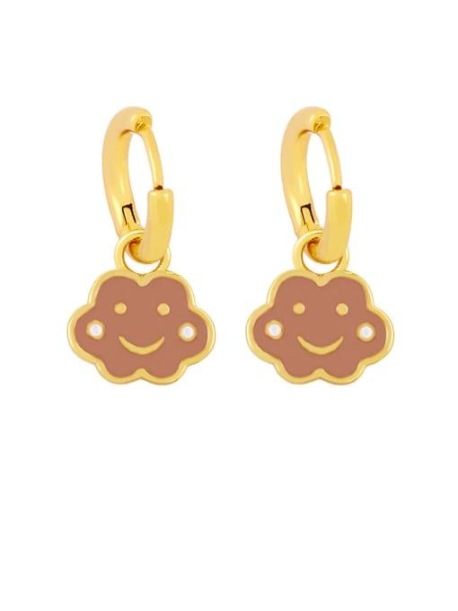 brown Brass Enamel Cloud Hip Hop Huggie Earring
