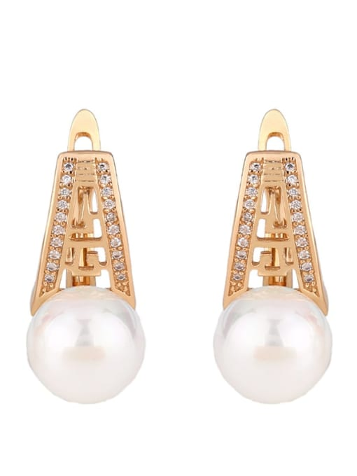 rose gold Brass Imitation Pearl Geometric Ethnic Stud Earring