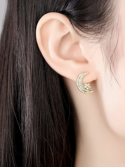BLING SU Copper Cubic Zirconia Moon Classic Stud Earring 1