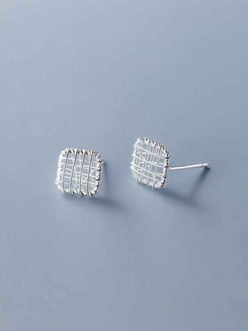 square 925 Sterling Silver Geometric Minimalist Stud Earring