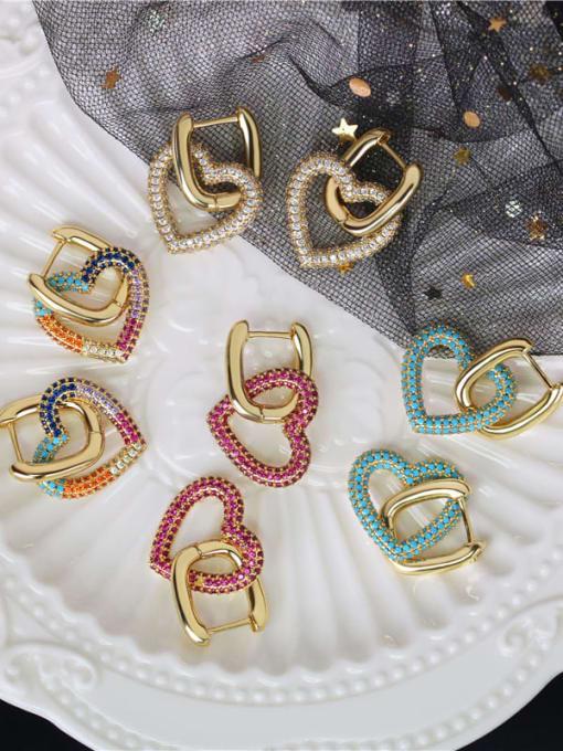 DUDU Brass Cubic Zirconia Heart Luxury Huggie Earring 1