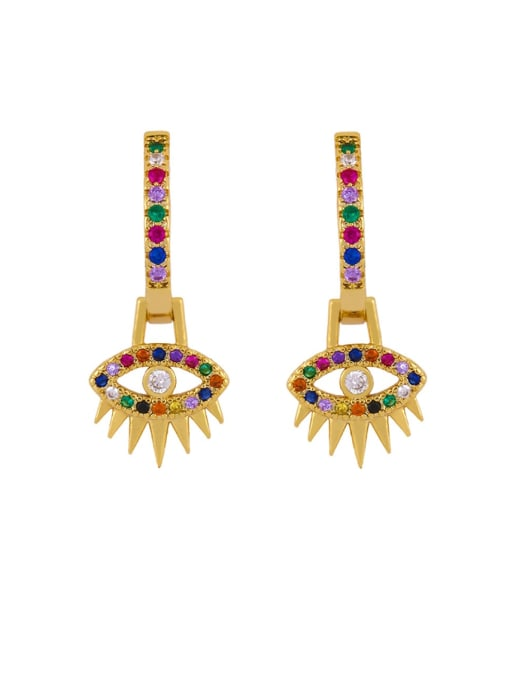 CC Brass Cubic Zirconia Crown Vintage Huggie Earring