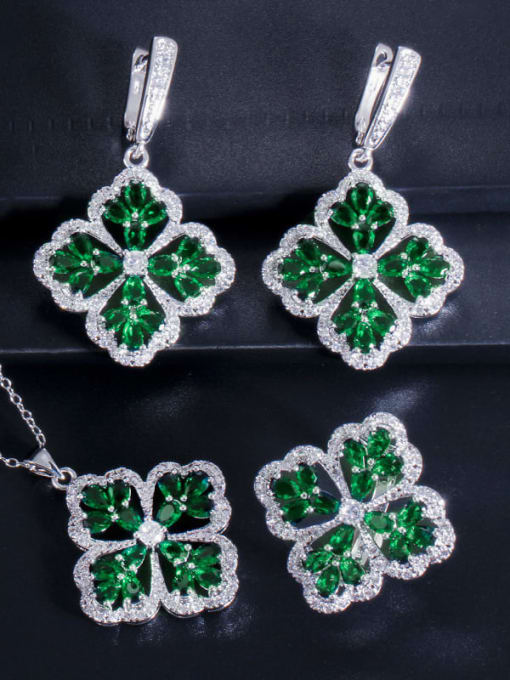 Green Ring Size 9 Brass Cubic Zirconia Luxury Flower  Earring Ring and Necklace Set