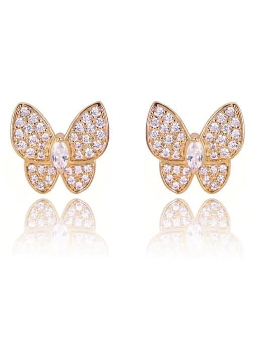 DUDU Brass Cubic Zirconia Butterfly Dainty Stud Earring 0