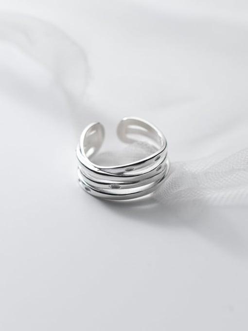 Rosh 925 Sterling Silver Irregular Minimalist Band Ring
