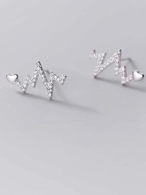 Rosh 925 Sterling Silver Rhinestone Heart Dainty Stud Earring 2