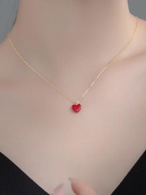 Rosh 925 Sterling Silver Enamel Heart Minimalist Necklace 1