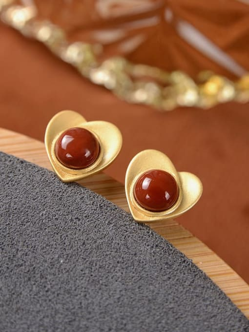 South Red (a pair) 925 Sterling Silver Carnelian Heart Vintage Stud Earring
