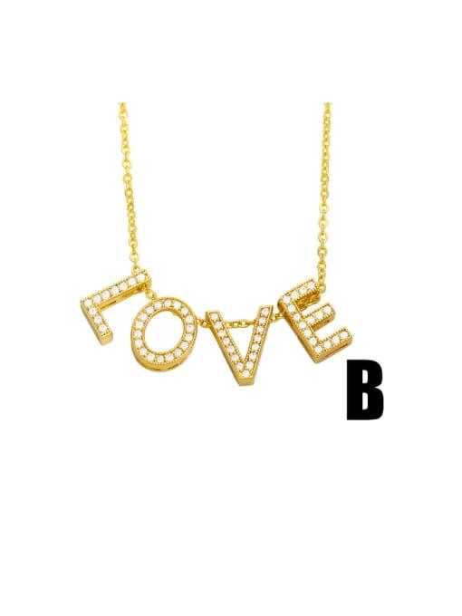 CC Brass Cubic Zirconia Simple LOVE letters Necklace 2