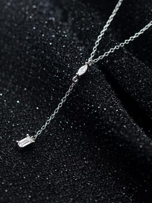 Rosh 925 Sterling Silver Rhinestone Tassel Minimalist Lariat Necklace 0