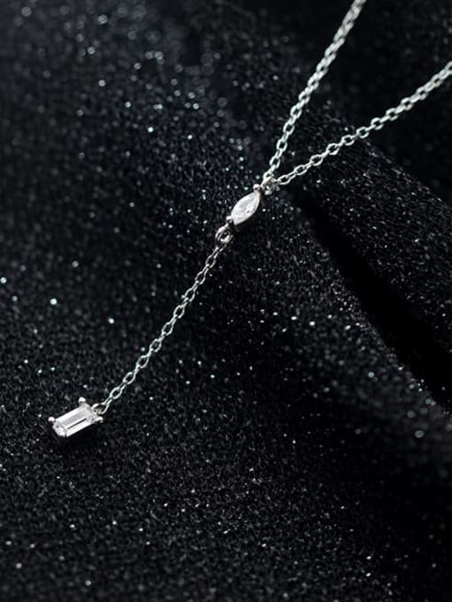 Rosh 925 Sterling Silver Rhinestone Tassel Minimalist Lariat Necklace