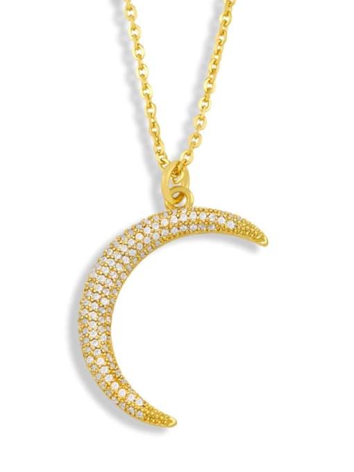 golden Bronze Cubic Zirconia Moon Minimalist Necklace