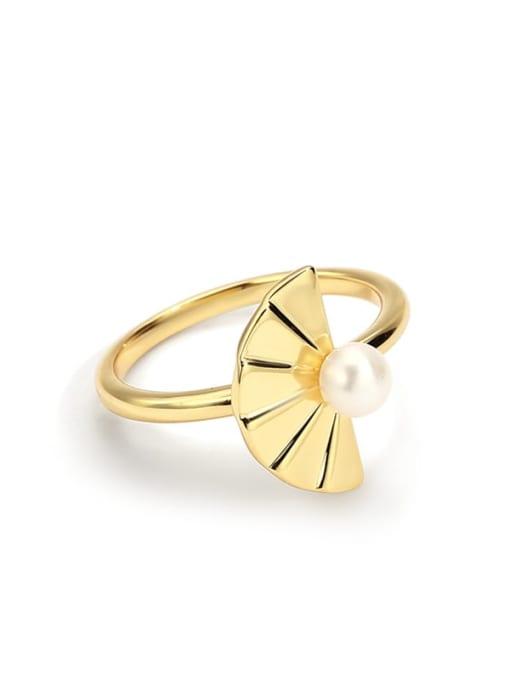 Gold folding fan Pearl Ring Brass Imitation Pearl Irregular Minimalist Band Ring