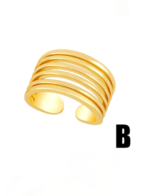 MMBEADS Brass Smooth Geometric Vintage Band Ring 2