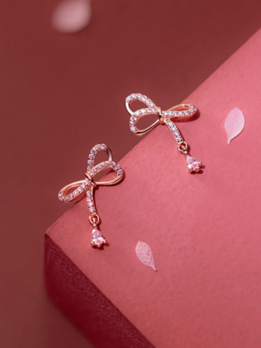 rose gold 925 Sterling Silver Cubic Zirconia Butterfly Cute Stud Earring