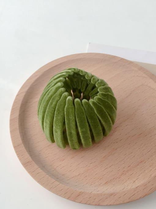 green Flocking hair clip Ball head Horsetail Hair Ring