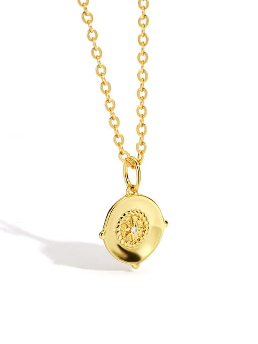 Gold Brass Rhinestone Geometric Minimalist Necklace