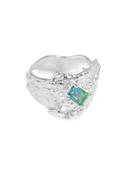 DAKA 925 Sterling Silver Glass Stone Irregular Vintage Band Ring 0