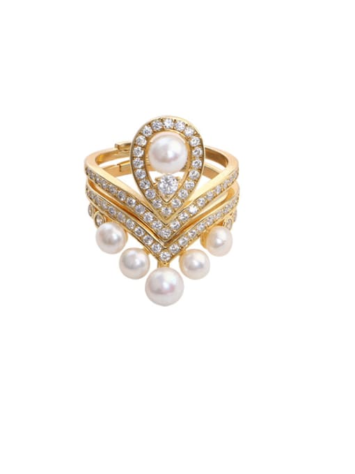 RAIN Brass Freshwater Pearl Geometric Vintage Stackable Ring 0