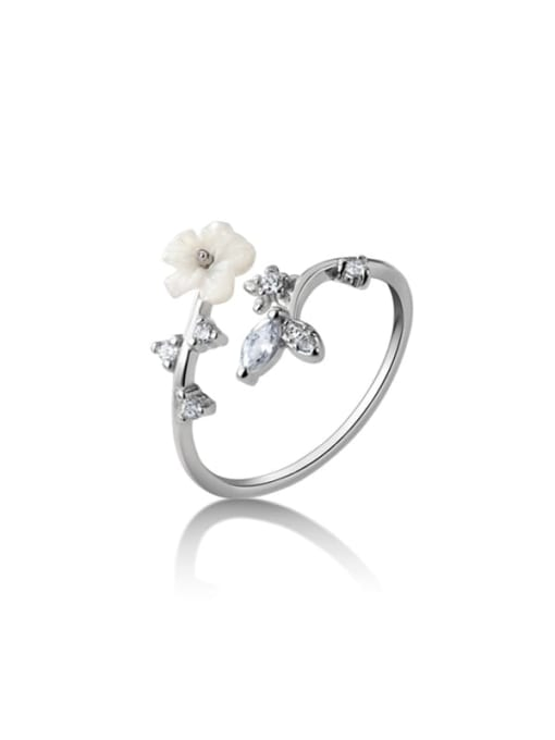 Rosh 925 Sterling Silver Resin Flower Minimalist Band Ring 3