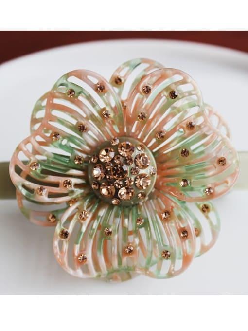 Light green Cellulose Acetate Cute Flower Zinc Alloy Rhinestone Spring Hair Barrette