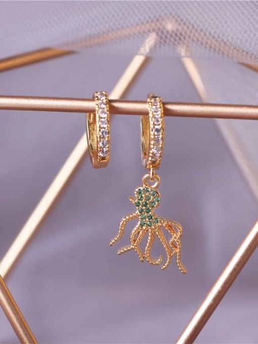 DUDU Brass Cubic Zirconia Octopus Vintage Huggie Earring 2