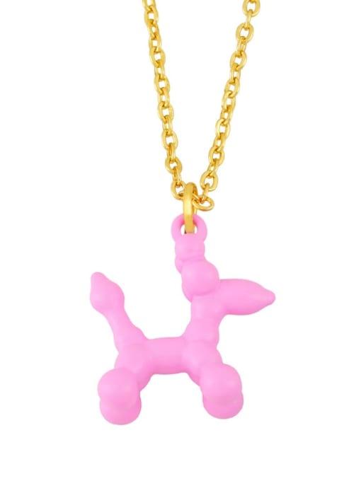 Pink Brass Enamel Cute Dog Pendant Necklace