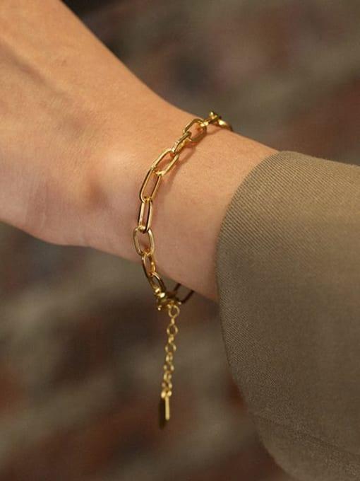 DAKA 925 Sterling Silver Hollow Geometric Chain Vintage Link Bracelet 3