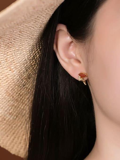 DEER 925 Sterling Silver Carnelian Leaf Cute Stud Earring 1