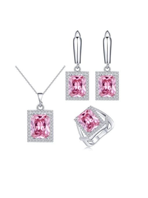 Pink Ring Size 7 Brass Cubic Zirconia Luxury Geometric  Earring Ring and Necklace Set