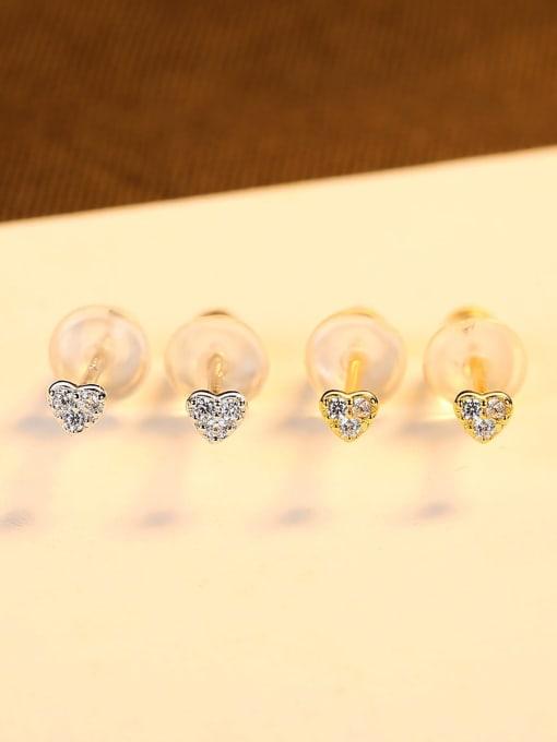 CCUI 925 Sterling Silver Cubic Zirconia Heart Minimalist Stud Earring 2