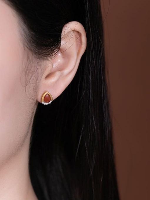 DEER 925 Sterling Silver Jade Water Drop Vintage Stud Earring 3
