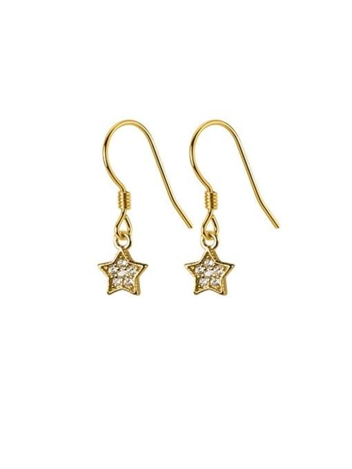 Rosh 925 Sterling Silver Cubic Zirconia Star Minimalist Hook Earring 3