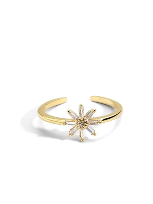 Golden Daisy ring Brass Cubic Zirconia Flower Minimalist Band Ring