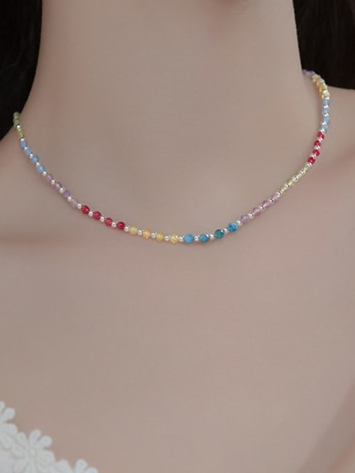Rosh 925 Sterling Silver Bead Multi Color Round Minimalist Necklace 1