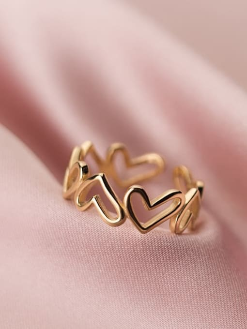 Rosh 925 Sterling Silver Heart Minimalist Band Ring 3