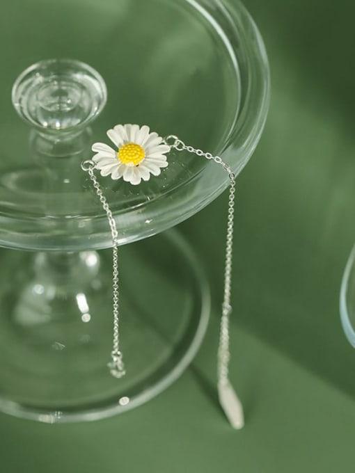 DAKA 925 Sterling Silver Enamel Flower Minimalist Link Bracelet 4