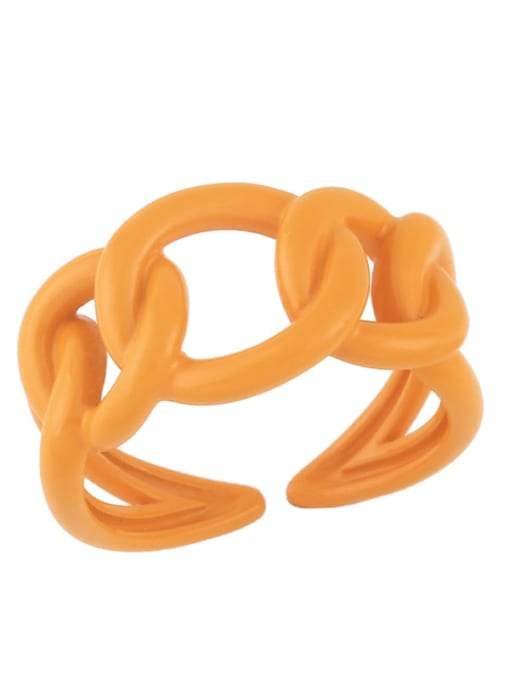 orange Brass Enamel Hollow Geometric Minimalist Band Ring