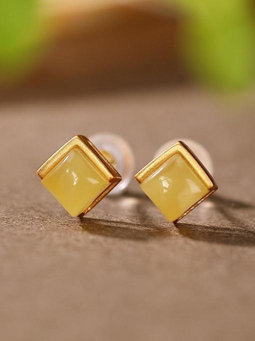 DEER 925 Sterling Silver Geometric Vintage Stud Earring