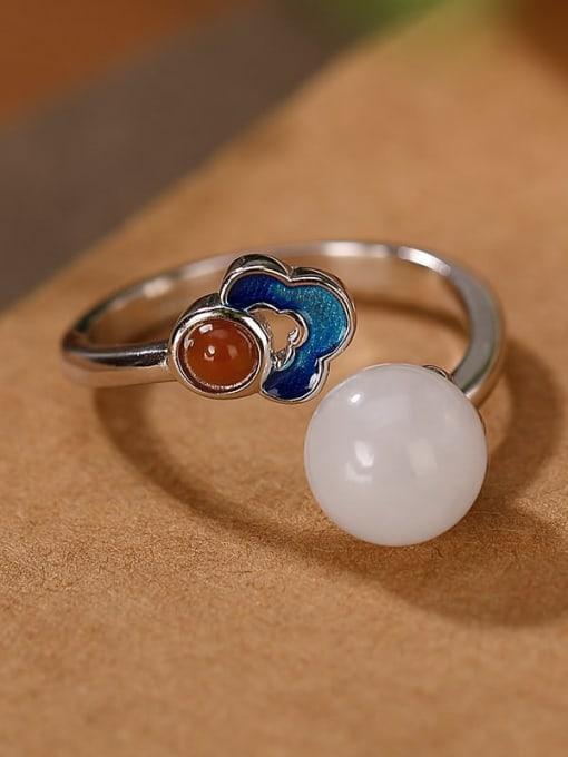 Ring style (open) 925 Sterling Silver Jade Enamel Flower Vintage Drop Earring