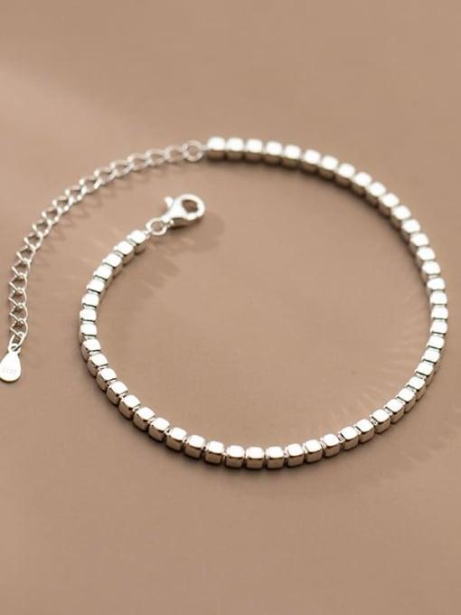 Rosh 925 Sterling Silver Geometric Minimalist Beaded Bracelet 1