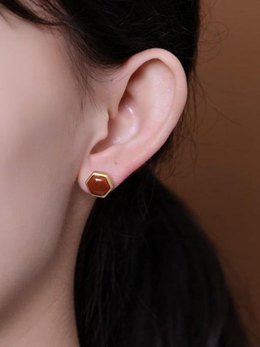 DEER 925 Sterling Silver Carnelian Geometric Vintage Stud Earring 1